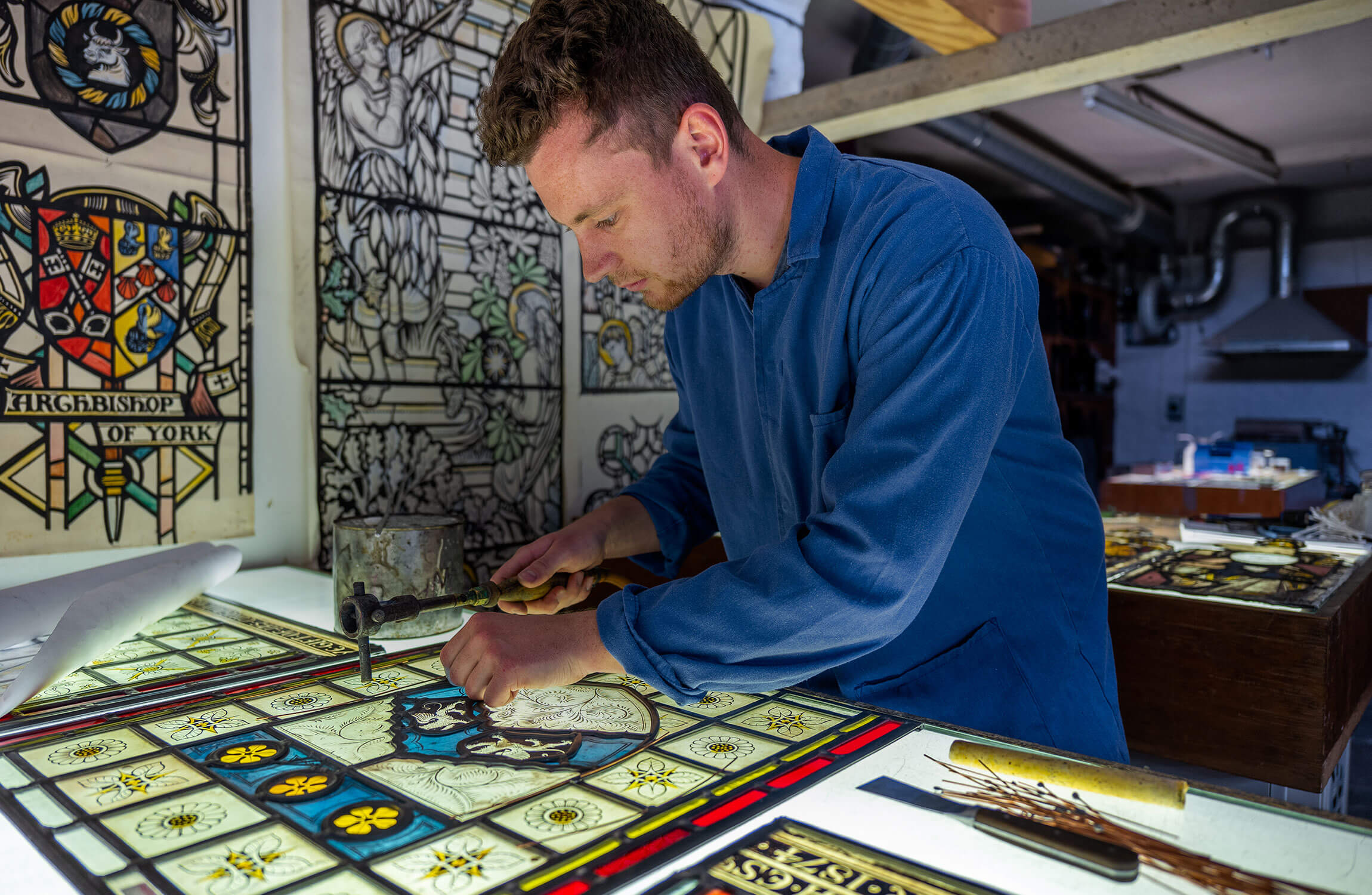 Stained glass artist at work